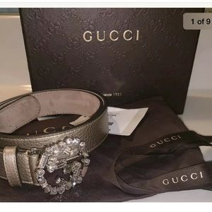 Womens Gucci belt rhinestone double G's authentic